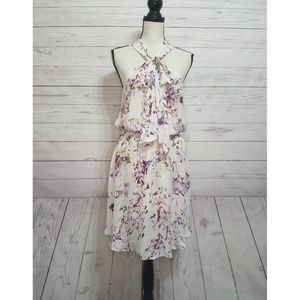 Anthropologie Ali Ro Floral Silk Midi Dress Size 8